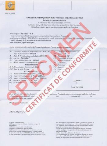 Certificat de Conformité Dacia LOGAN