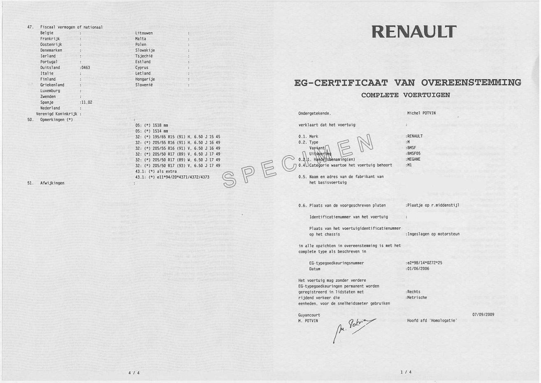 Vente de certificat de conformité Dacia